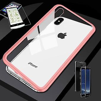 For Apple iPhone XS MAX 6.5 inch magnet / metal / glass bag Case Rosa-transparent + 0.26 mm H9 hard glass