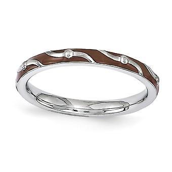 2.5mm Sterling Zilver gepolijst gedessineerde Rhodium-plated stapelbare expressies bruin glazuur Ring - Ringmaat: 5 tot en met 10