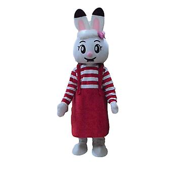 White SPOTSOUND rabbit mascot, with a red dress