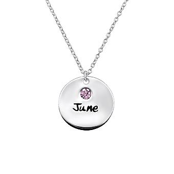 Juni Birthstone - 925 Sterling Silber jeweled Halsketten - W30219x