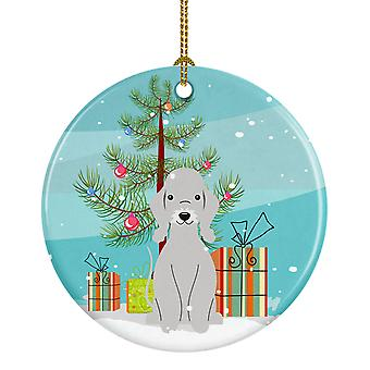 Merry Christmas Tree Bedlington Skrekkelig blå keramiske Ornament