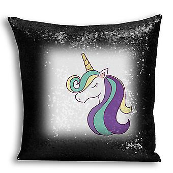 i-Tronixs - Unicorn Printed Design Black Sequin Cushion / Pillow Cover with Inserted Pillow for Home Decor - 16