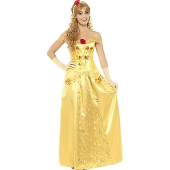 Golden Princess Costume, Gold, with Long Dress, Gloves & Headband