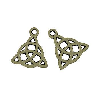 10 x Antique Bronze Tibetan 17mm Celtic Knot Triquetra Charm/Pendant ZX01865