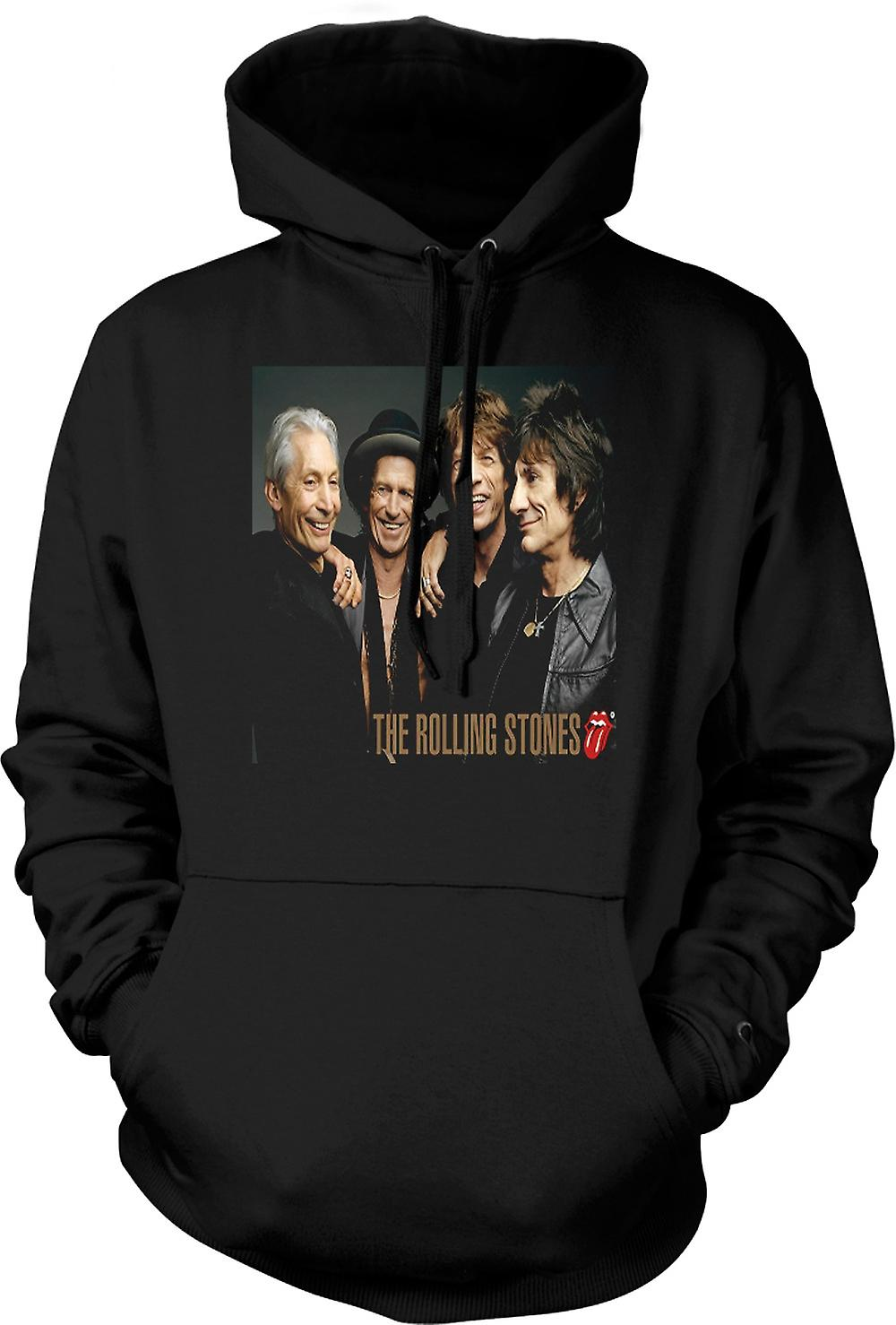 Mens Hoodie - The Rolling Stones - Band Portrait - Lips