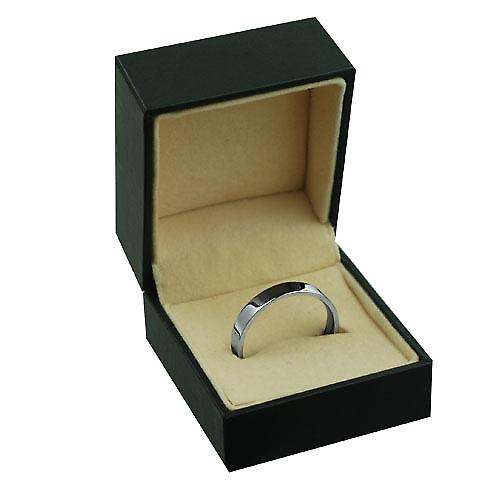 18ct White Gold 4mm plain Flat Court shaped Wedding Ring
