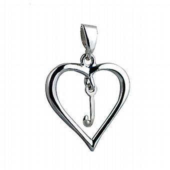Silber Herz Anhänger mit einem hängenden ersten J