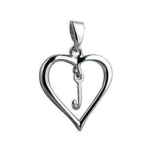 sterling Silver heart with a hanging Initial J