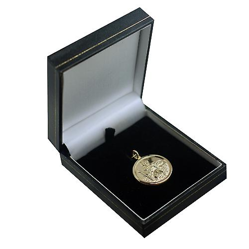 14ct or jaune sur Argent 24mm ronde St Christopher