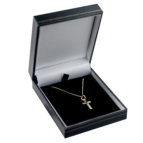 9ct Gold 15x9mm plain solid block Cross with a curb Chain 16 inches Only Suitable for Children