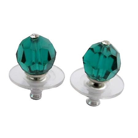 Affordable Bridesmaid Jewelry Emerald Crystal Stud Earrings