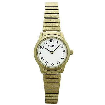 Rotary LB00762 wrist watch, stainless steel band, gold