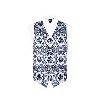 Dobell Mens Navy Waistcoat Regular Fit 6 Button Victorian Jacquard Pattern