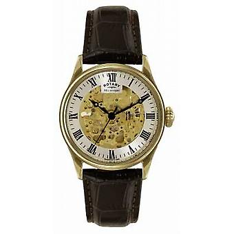 Rotary Mécanique Skeleton Brown Leather Strap GS02941/03 Watch
