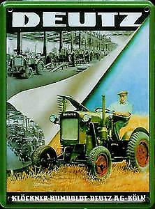 Deutz Tractor Factory metal postcard / mini-sign   (hi)