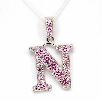 TOC Sterling Silver Pink Rhinestone Set Initial 'N' Pendant Necklace 18