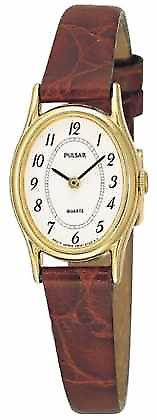 Pulsar Womens' Gold Plate White Oval Dial Brown Leather PPGD68X1 Watch