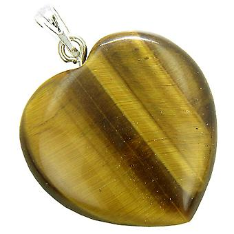 A Lucky Puffy Tiger Eye Gemstone Heart Evil Eye Protection Talisman Pendant