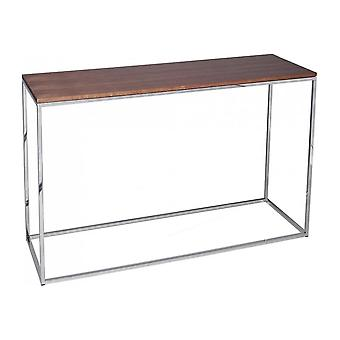 Gillmore Space Walnut And Silver Metal Contemporary Console Table