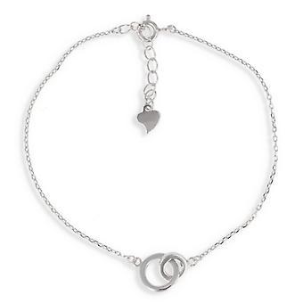 Silver Rhodié dubbel cirkel arm band 17cm-3cm