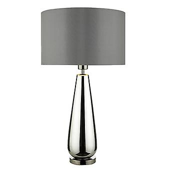 Pablo tafel lamp zwart chroom basis C/w gerookte grijze tint