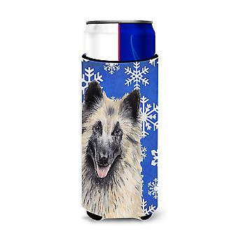 Belgian Tervuren Winter Snowflakes Holiday Ultra Beverage Insulators for slim ca