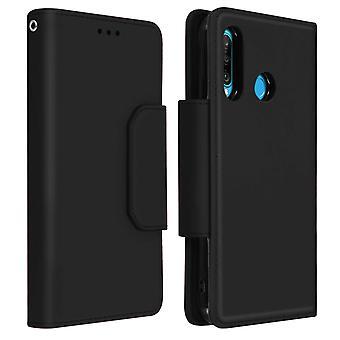 Magnetic Detachable Wallet Folio Case for Huawei P30 Lite - Black