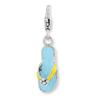 925 Sterling Silver Fancy Lobster Closure Enameled 3-d Flower Flip Flop With Lobster Clasp Charm 925 Sterling Silver Fancy Lobster Closure Enameled 3-d Flower Flip Flop With Lobster Clasp Charm 925 Sterling Silver Fancy Lobster Closure Enameled 3-d Flower Flip Flop With Lobster Clasp Charm 92