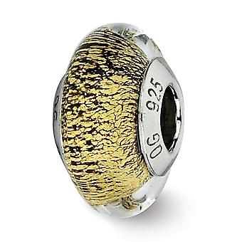 925 Sterling Silver Polished Antique finish Reflections Black Gold Italian Murano Glass Bead Charm