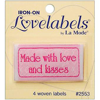 Iron On Lovelabels 4 Pkg Made With Love And Kisses 2500 2553
