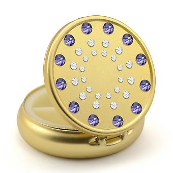 Pill Box in Gold Color with Swarovski Crystals Sun Design