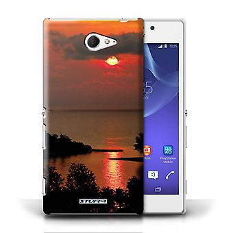 STUFF4 Case/Cover for Sony Xperia M2/Red Sun/Sunset Scenery