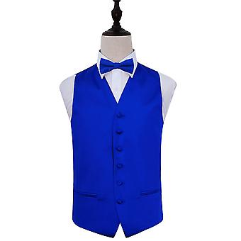 Plain Royal Blue Satin Wedding Waistcoat & Bow Tie Set