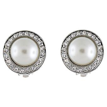 Clip On Earrings Store Silver & Pearl and Crystal Circle Button Clip on Earrings