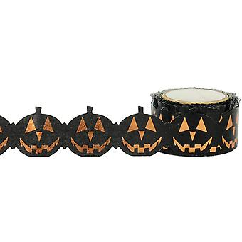 Little B Decorative Foil Tape 25mmx8m-Jack-O-Lantern Die Cut Orange Foil LBFT25X8-2229