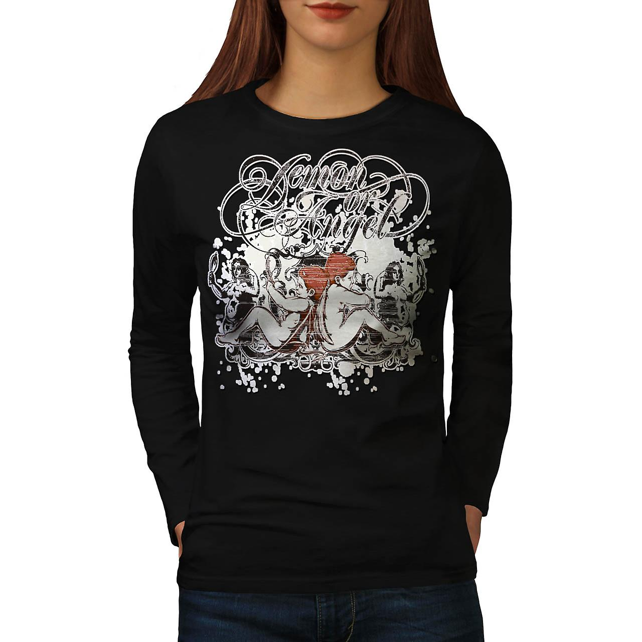 Demone o Angel Wing Heaven Hell donna manica lunga t-shirt nera | Wellcoda