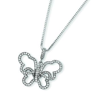 Sterling Silver Pave Spring Ring Rhodium-plated and Cubic Zirconia Brilliant Embers Butterfly Necklace - 18 Inch