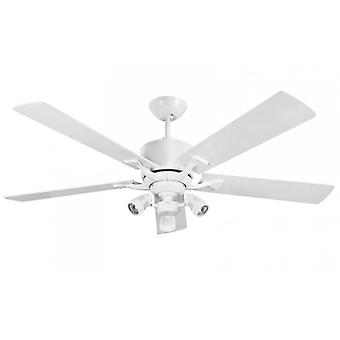 Jævnstrøm loft fan Delta White + lys kit Sorrento