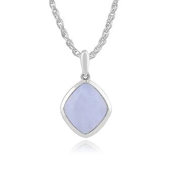 Gemondo 925 Sterling Silver 3.10ct Blue Lace Agate Pendant on 45cm Chain