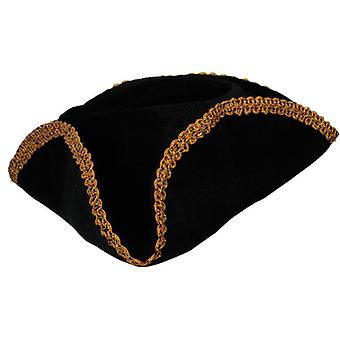 Adult Pirate Hat Black with Gold Braid Trim Fancy Dress Accessory