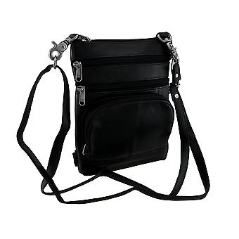 5 Pocket Leather Biker Belt Hip Bag with Elastic Leg & Removable Shoulder Strap