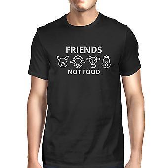Friends Not Food Mens Black Short Sleeve Cotton Tee Cute Gift Ideas