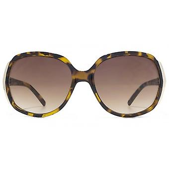 Carvela Textured Temple Detail Plastic Sunglasses In Tortoiseshell
