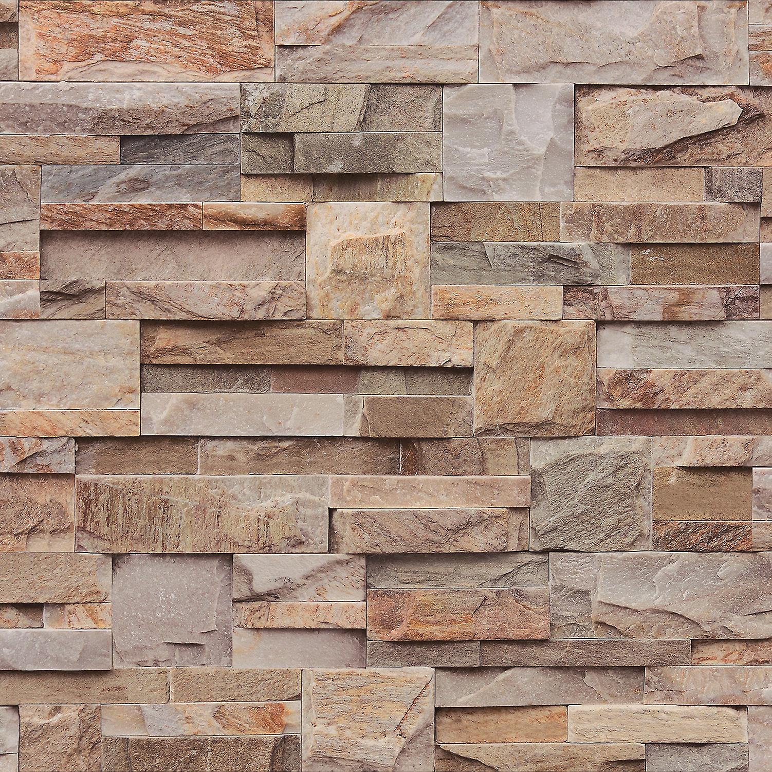 Muriva Brown Brick Slate Stone Natural 3D Textured Vinyl Washable Wallpaper
