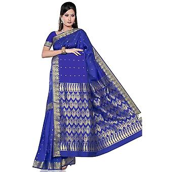 Blue -  Benares Art Silk Sari / Saree/Bellydance Fabric (India)
