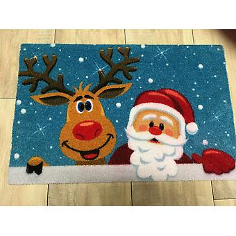 Santa and Rudolph Christmas mat 40 x 60 cm borderless with bright colours