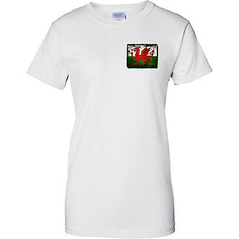 Drago gallese Grunge effetto bandiera - Ladies petto Design t-shirt