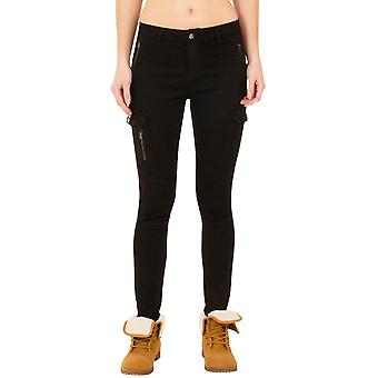Slim Skinny Stretch Mid Rise Cargo Combat Jeans - Black