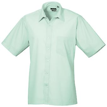 Premier Mens Short Sleeve Formal Poplin Plain Work Shirt