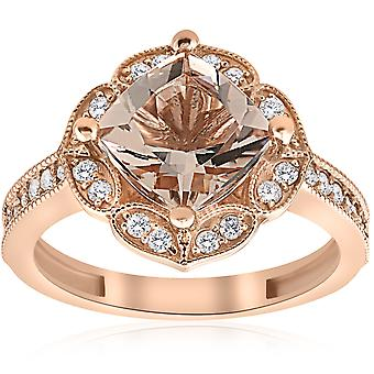 2 1/3ct Cushion Morganite Vintage Diamond Halo Engagement Ring 14K Rose Gold